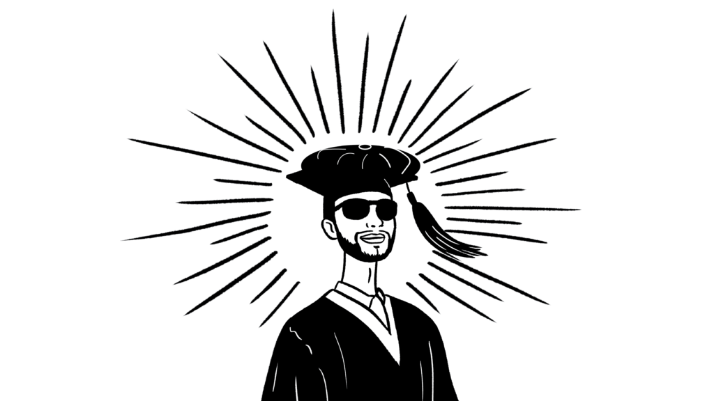 illustration of Direct X in graduation cap and gown.